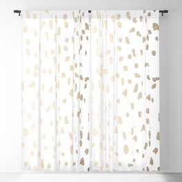 Luxe Gold Painted Polka Dot on White Blackout Curtain