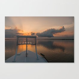 Coastal Sunrise from a Skiff Canvas Print