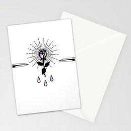 Blackwork Rose Holographic Shining in Knifes Design Stationery Cards