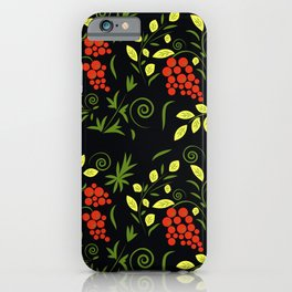 pattern with flowers and leaves hohloma style  iPhone Case