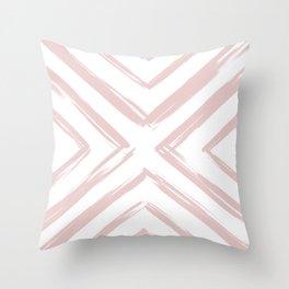 Minimalistic Rose Gold Paint Brush Triangle Diamond Pattern Throw Pillow