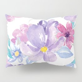 Lavender pink teal watercolor modern floral Pillow Sham