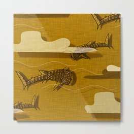 Whale Shark Yellow  #nautical #whaleshark Metal Print