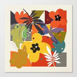 mid century minimal plant leaves Canvas Print