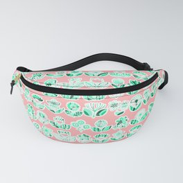 Pink and mint doodle flowers print, nature print, floral print Fanny Pack
