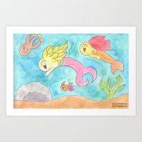 Leafy Mermaids Art Print