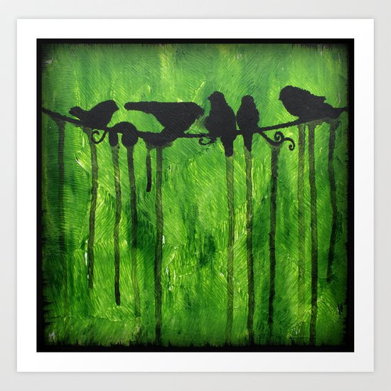 Urban Birds - Birds on a Wire Art Print