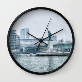 Snownfall over Replica of the Statue of Liberty in Paris Wall Clock