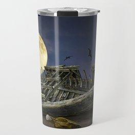 Moon and Wooden Shipwreck with Gulls Travel Mug