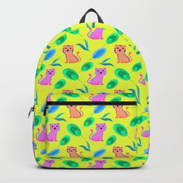 Cute happy little baby pink tigers tropical rainforest exotic green blue leaves yellow pattern Backpack