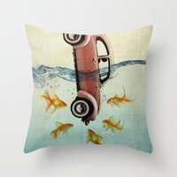 vw Throw Pillows featuring VW beetle and goldfish by Vin Zzep