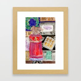 Miss Mouse Baking Holiday Cookies Framed Art Print