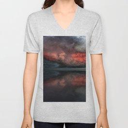 Red cloud reflect Unisex V-Neck