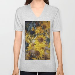 Frozen yellow flowers Unisex V-Neck