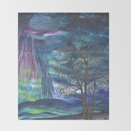 Starry Sky with Aurora Borealis Throw Blanket