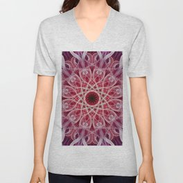 Ornamented mandala in red and pink tones Unisex V-Neck