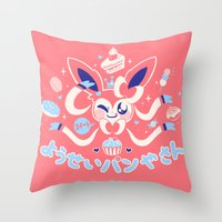 "sylveon Throw Pillows featuring ""Sweet"" Fairy Bakery by Miski"