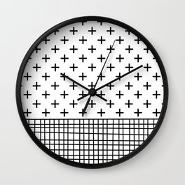 Crosses, Criss Cross, Black and White Modern Wall Clock
