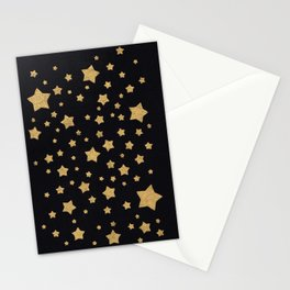 Gold Stars on BLack Stationery Cards