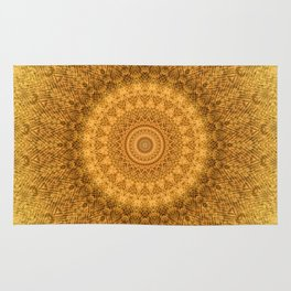 Sunflower Feather Bohemian Sun Ray Pattern \\ Aesthetic Vintage \\ Yellow Orange Color Scheme Rug