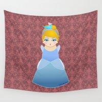 cinderella Wall Tapestries featuring Kokeshi Cinderella by Pendientera