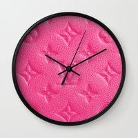lv Wall Clocks featuring Pink LV by I Love Decor