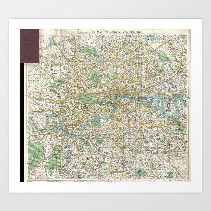 Map Of England Vintage.Vintage Map Of London England 1900 Art Print By Bravuramedia