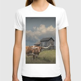 Longhorn Steer in a Prairie pasture by 1880 Town with Windmill and Old Gray Wooden Barn T-shirt