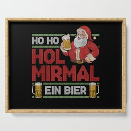 Ho Get Me A Beer Christmas Santa Claus Serving Tray