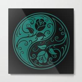 Teal Blue and Black Yin Yang Roses Metal Print