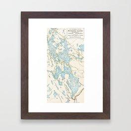 Vintage Muskoka Lakes Map Framed Art Print