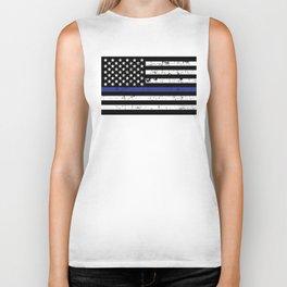 Police Thin Blue Line Flag Biker Tank