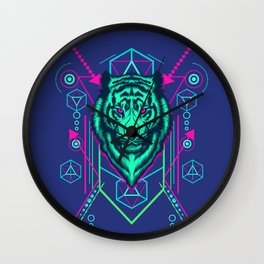Cool Sacred Geometry Glowing Tiger Radioactive Stripes Illustration Wall Clock