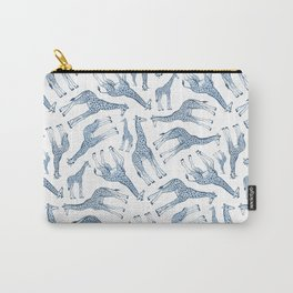 Navy Blue Giraffes on White Carry-All Pouch