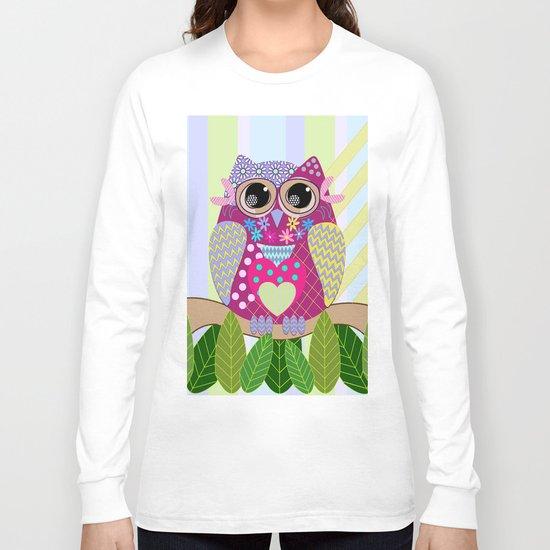 Cute Patterns Flower Power Owl Long Sleeve T-shirt