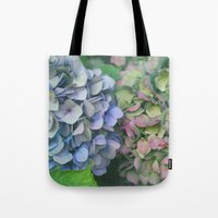 hydrangea Tote Bags featuring hydrangea by EnglishRose23