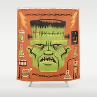 frankenstein Shower Curtains featuring Frankenstein by John Clark IV