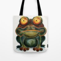 frog Tote Bags featuring Frog by Riccardo Pertici