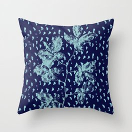 Navy and aqua blue faux glitter raindrops and foliage Throw Pillow
