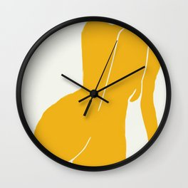 Nude in yellow Wall Clock