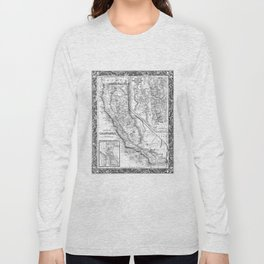 Vintage Map of California (1860) BW Long Sleeve T-shirt