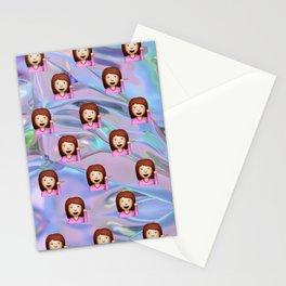 Hand Girl Emoji Holographic Stationery Cards