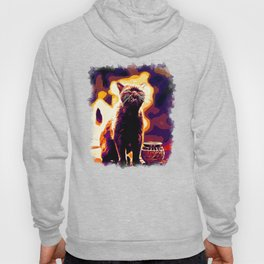 british shorthair cat ready to attack vector art late sunset Hoody