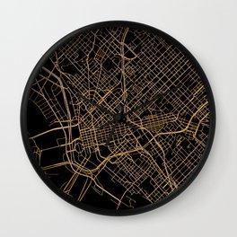 Black and gold Dallas map Wall Clock