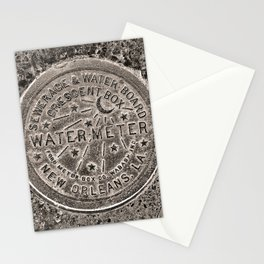 Sepia New Orleans Water Meter Louisiana Crescent City NOLA Water Board Metalwork Stationery Cards