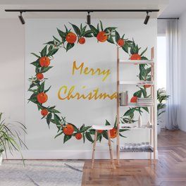 Christmas wreath with oranges Wall Mural