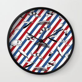 Barber Shop Pattern Wall Clock