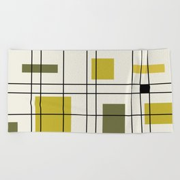 1950's Abstract Art Chartreuse Beach Towel