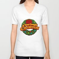 fangirl V-neck T-shirts featuring A Very Fangirl Christmas by Leigh Lahav
