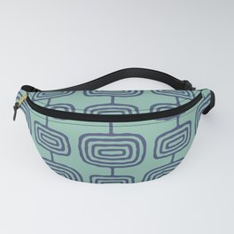Mid Century Modern Atomic Rings Pattern Turquoise and Blue Fanny Pack